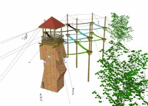Watch tower design rendering with participants.
