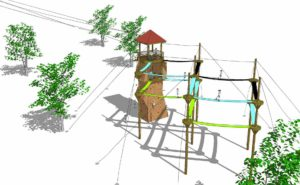 Watchtower rendering at an angle with participants on external towers.