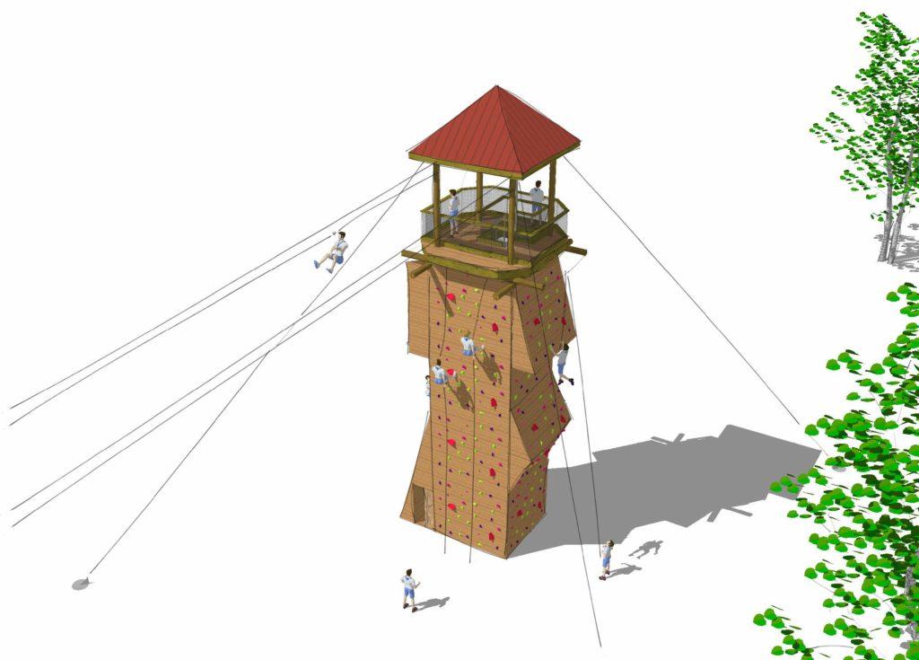 Watchtower rendering with kids on a zipline.