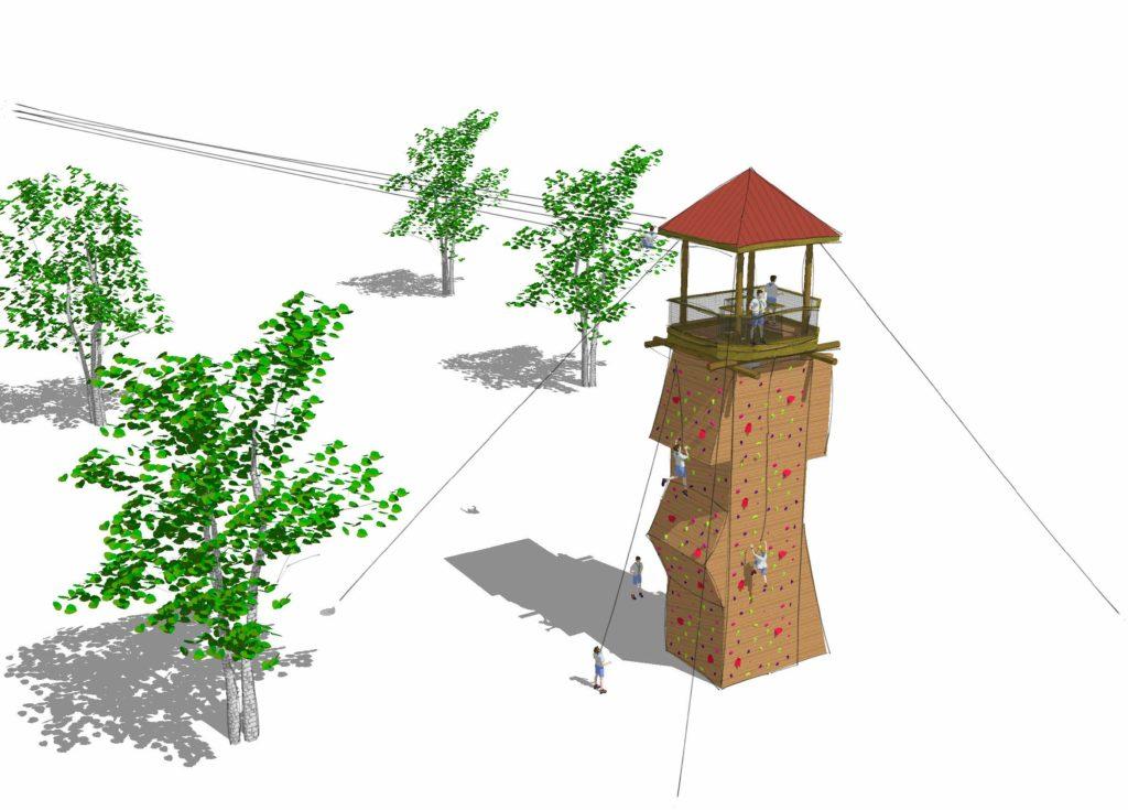 Watchtower rendering with zipline.