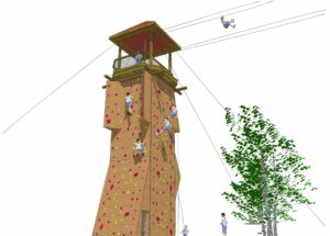 Watchtower rendering with zipline.