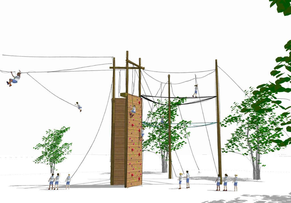 Challenger course design rendering with participants on climbing wall.