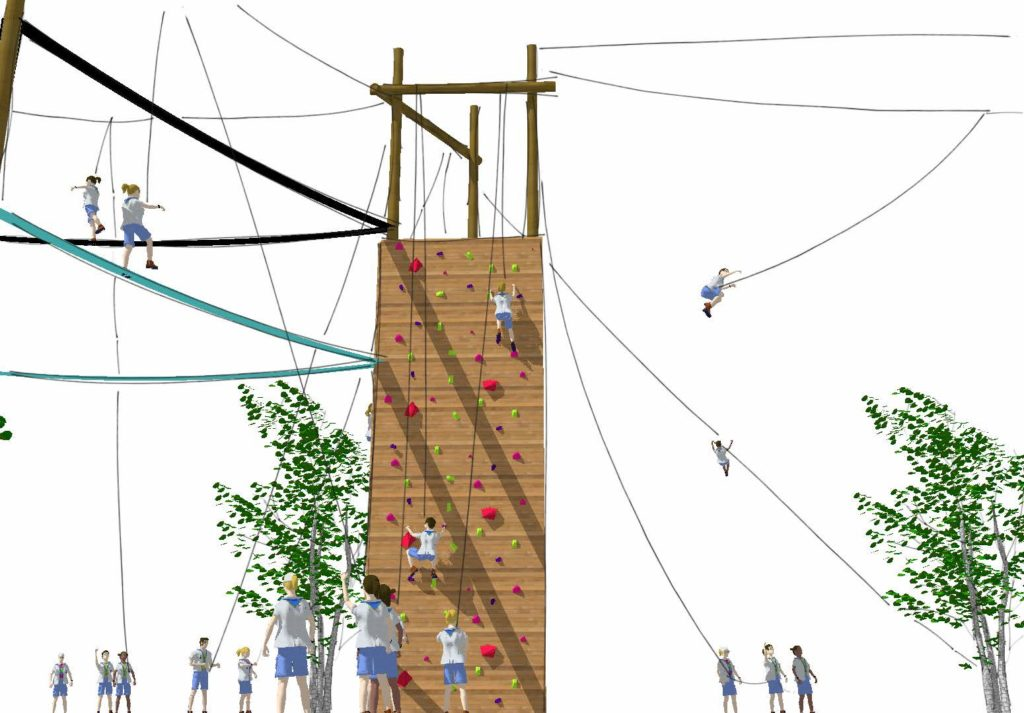 Challenger course render with climbing wall.