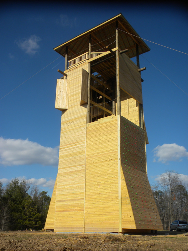 Watchtower design with climbing wall.