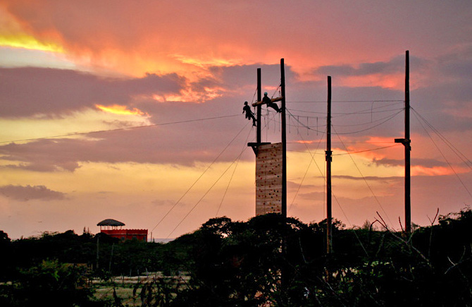 Challenge course at sunset.