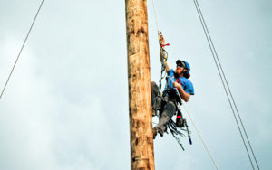 Man repelling from pole.
