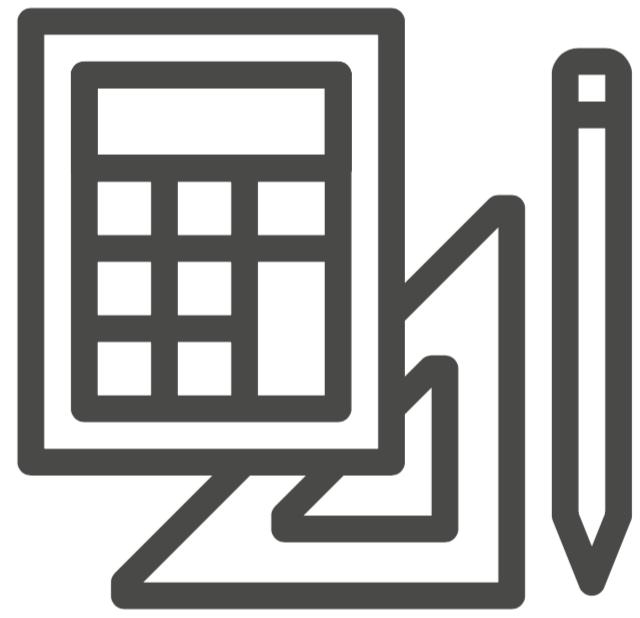 Calculator, triangle, and pencil.