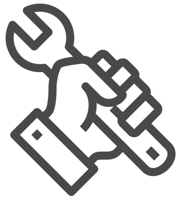 Hand holding a wrench.