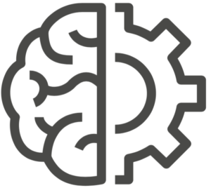 Gear and brain symbol.