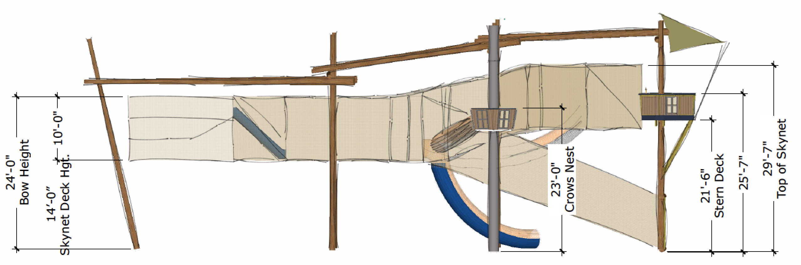 Skynet course blueprint with measurements.
