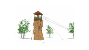 Watchtower rendering with zipline extending away from the tower.