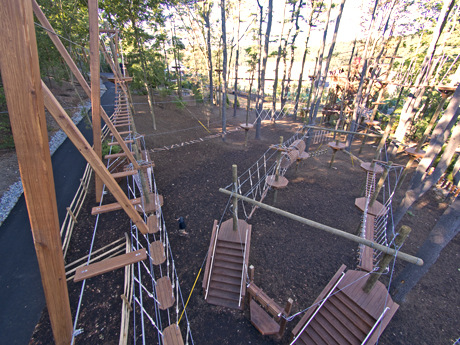 Low ropes course seen from above.