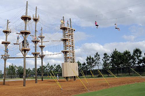People zip lining away from an aerial adventure course.