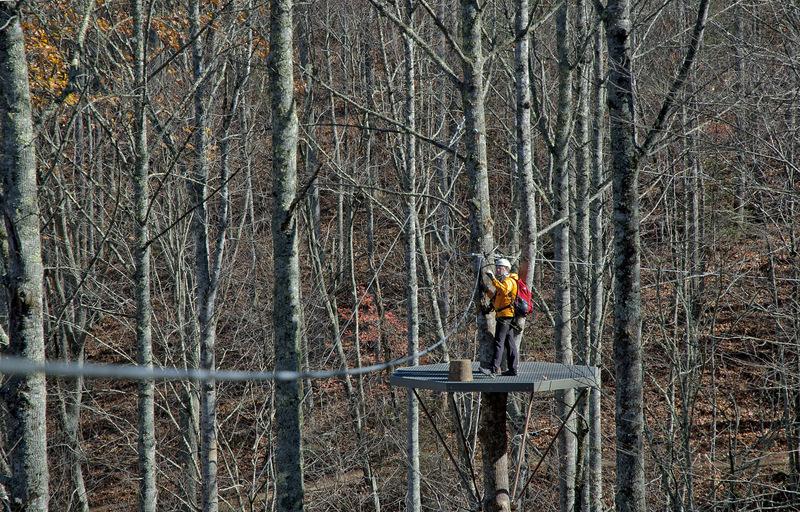 Man standing on zipline tree platform.