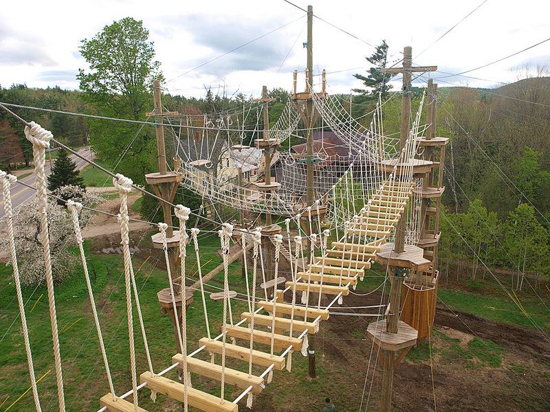 Challenge course rope bridge.