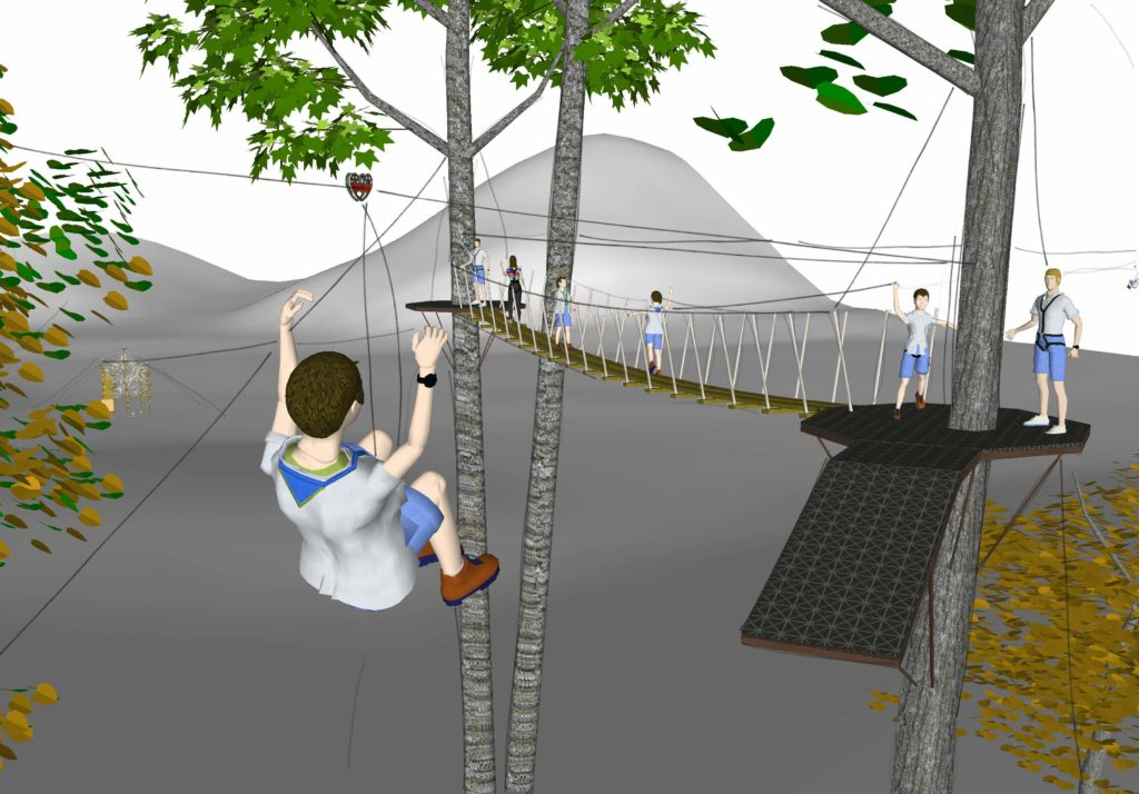 Kid zip lining to platform.