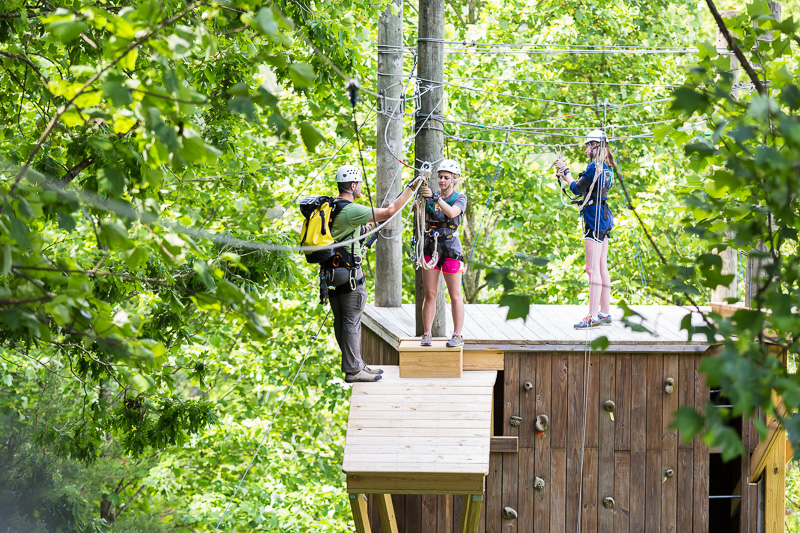 Figures on a point to point zipline.
