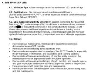 example of staff basic qualifications