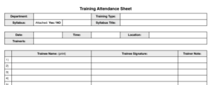 training sign-in