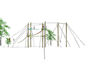Sideview of the Endeavor Series Challenge Course by Challenge Towers